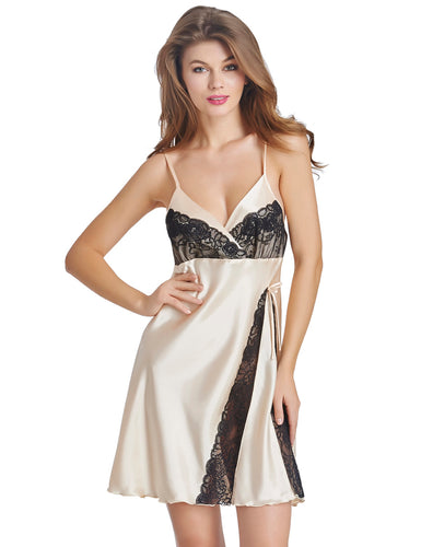 Lace Patchwork Chemise Dress