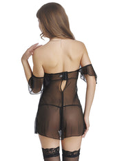 Sexy Off Shoulder Babydoll Dress with G-string