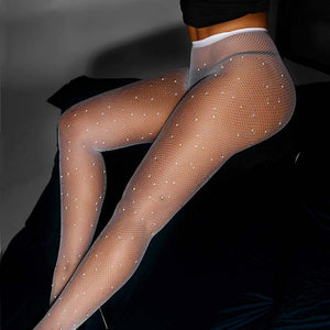 Sparkle Rhinestone  Mesh Tights