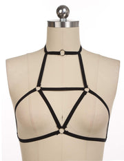 Solid Plunge Low Cut Crop Top Style Harness Bra Black