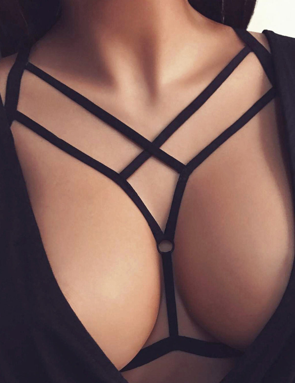 Black Sexy Bandage Cupless Elastic Strap Bralette