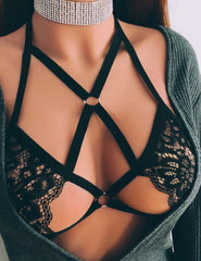 Black See-through Harness Hollow Out Lace Bra