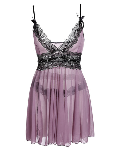 Sexy Purple Babydoll Dress With G-string