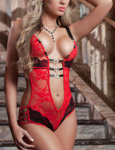 Deep V Lace Contrast Color Patchwork Lingerie