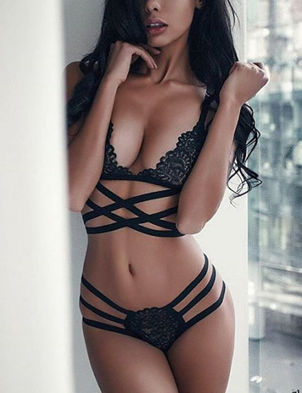 Black Casual Lace Bandage Cross Hollow Out Set