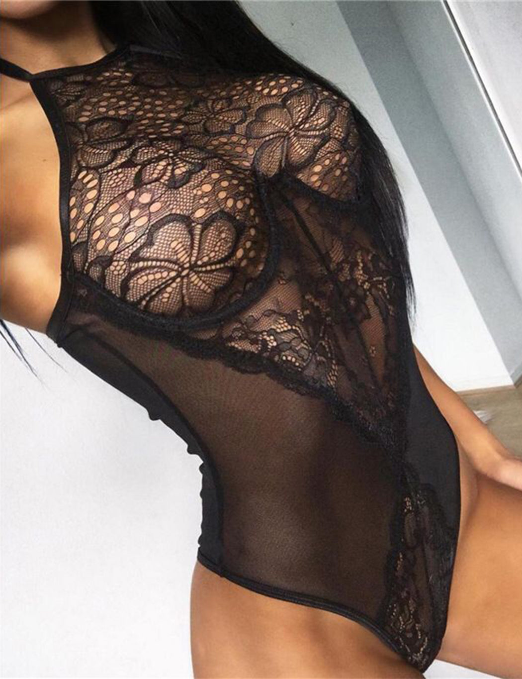 Black Sexy Lace Backless Up Halter Lingerie