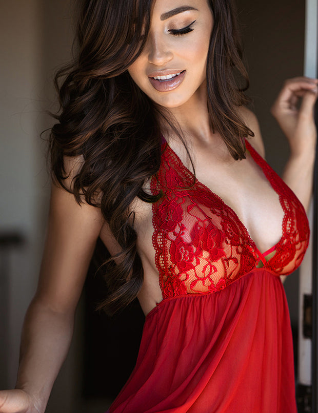 Red Sexy Halter Neck Lace See Through Lingerie Set