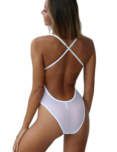 Hollow Out Back Cross Elastic Lingerie