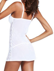 White V-Neck Floral Lace Mesh Chemise Nightdress