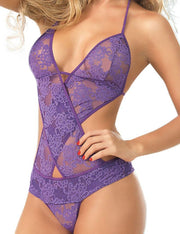 Halter Sheer Lace Teddy Nightwear