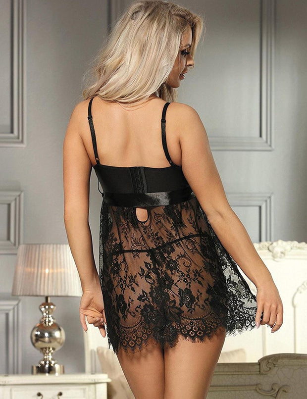 Black Lace See Through Adjustable Lingerie