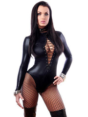 Sexy One Piece Faux Leather Gothic Bodysuit