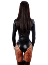 Sexy Faux Leather Gothic Bodysuit