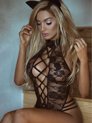 Black Lace See Though Lingerie Teddy Bodysuit