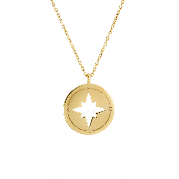 Engravable Compass necklace