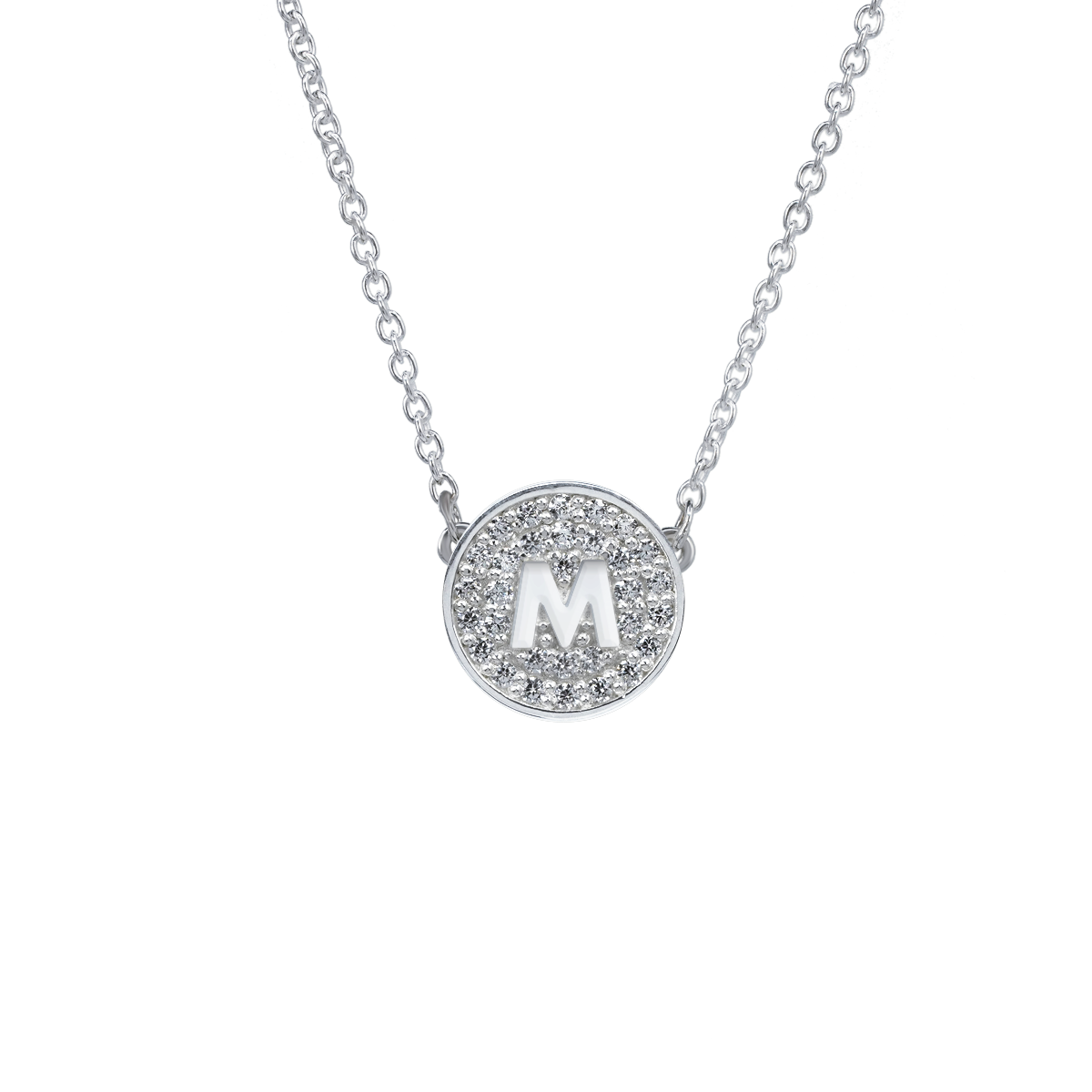 Pavé Disk Initial Necklace