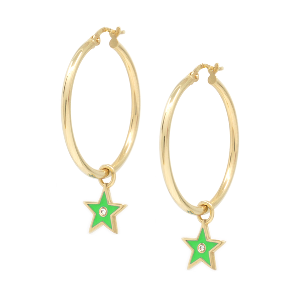 Med Earring + Coloured Star Charms with stone