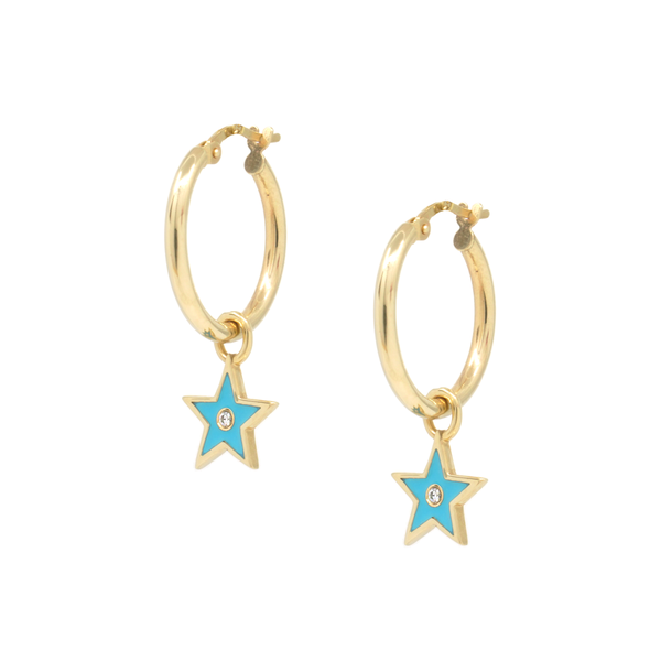 Earring + Coloured Star Charms with stone