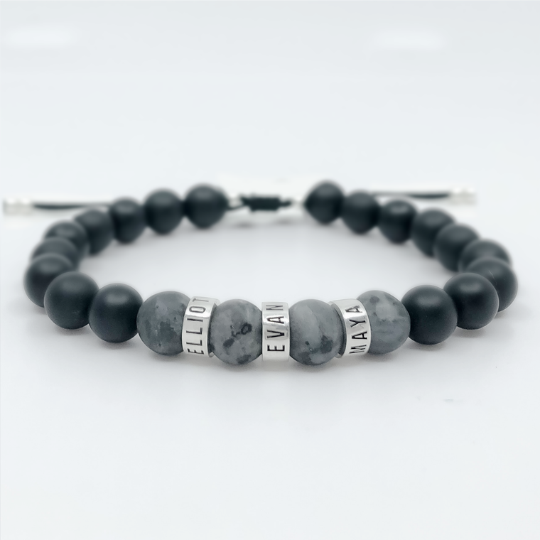 Gray Beads bracelet engraving