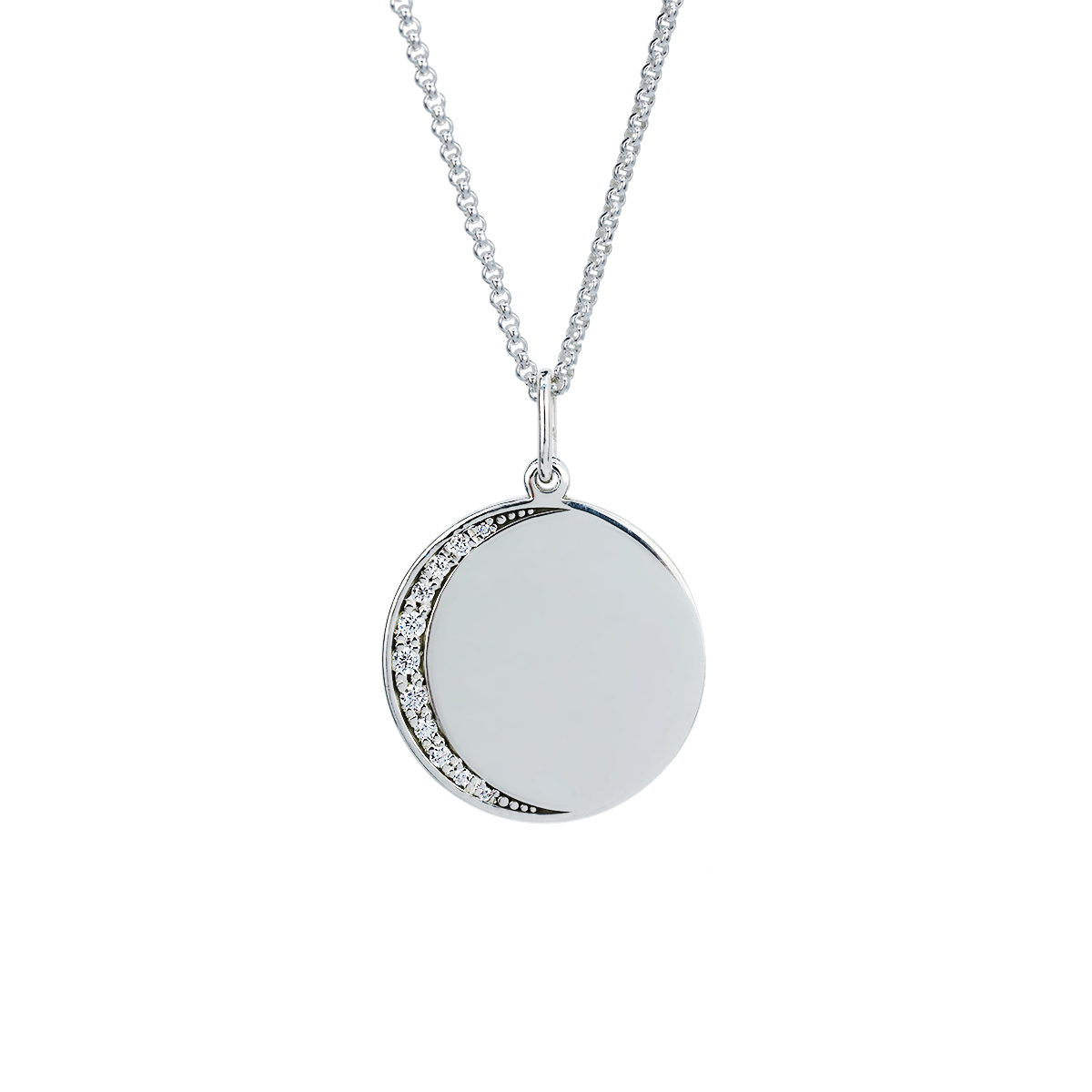 Engravable Moon Pavé Necklace