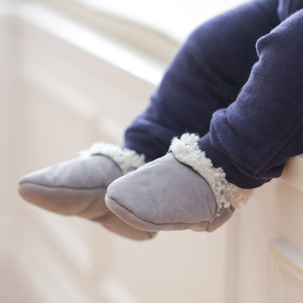 Baa Baby Lambskin Booties Grey