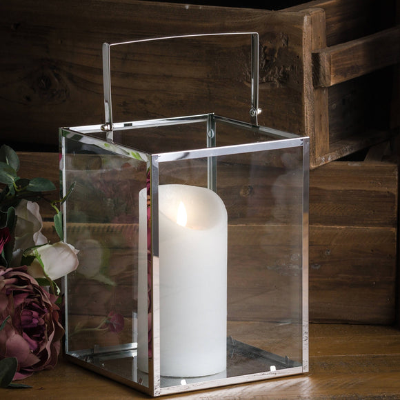 Silver Cube Contemporary Lantern With Wax Led Candle - Triftware