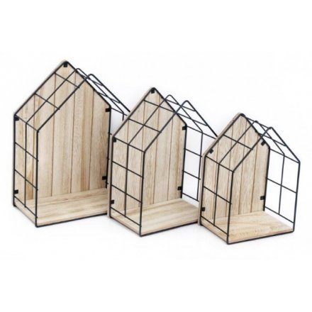 Wood & Wire House Shape Display Units (3) - Triftware