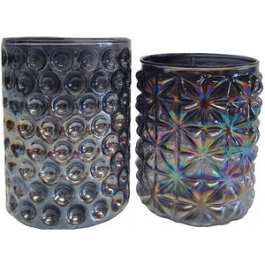 Iridescent Smoke Glass Tea Light Holders - Triftware