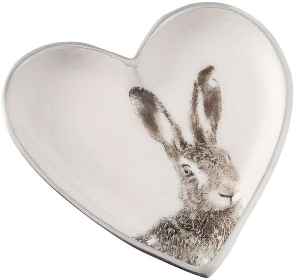 Grey Hare Heart Plate - Triftware