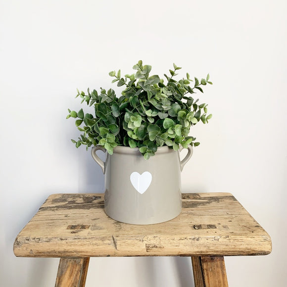 Grey Heart Pot with Ears, Large - Triftware