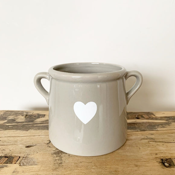 Grey Heart Pot with Ears - Triftware