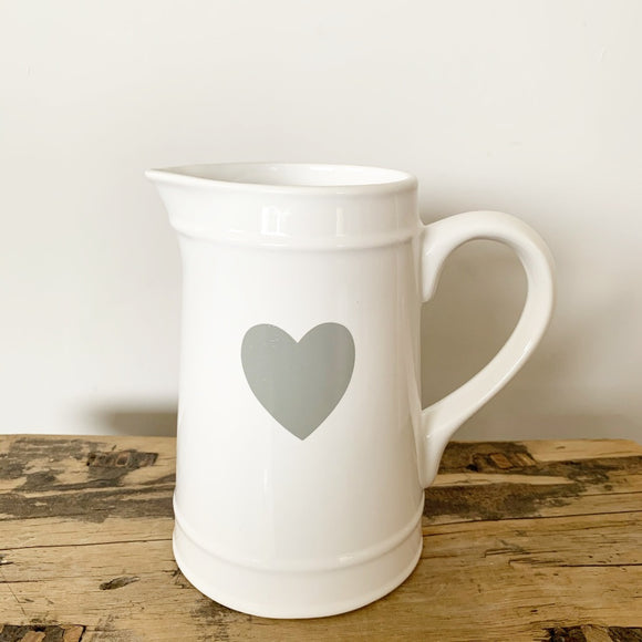 White Jug with Grey Heart - Triftware