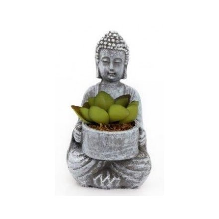 Sitting Buddha with succulent - Triftware