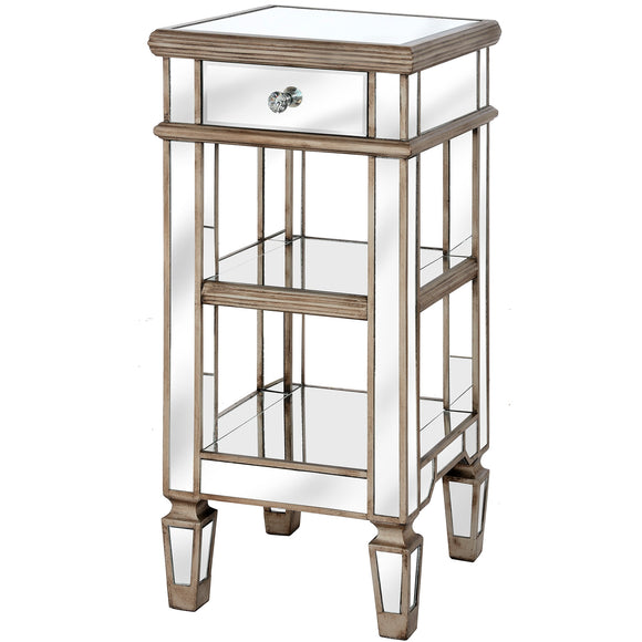 Belfry Collection One Drawer Mirrored Cocktail Table - Triftware