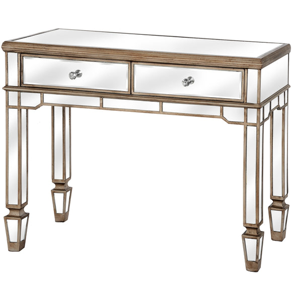 Belfry Collection 2 Drawer Mirrored Console Table - Triftware