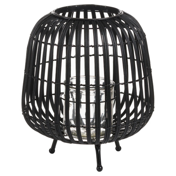Black Rattan Bulbous Lantern - Triftware