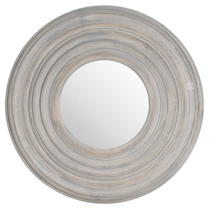 Grey Painted Round Textured Mirror - Triftware