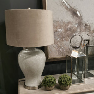 Hadley Ceramic Table Lamp With Natural Shade - Triftware