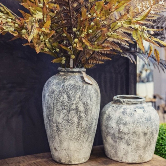 Aged Stone Tall Ceramic Vase - Triftware