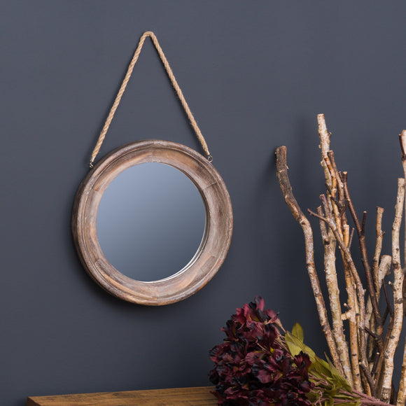 Wooden Frame Rope Hanging Mirror - Triftware