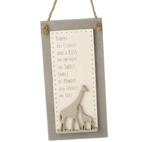 Natural Wooden Giraffe Plaque - Triftware