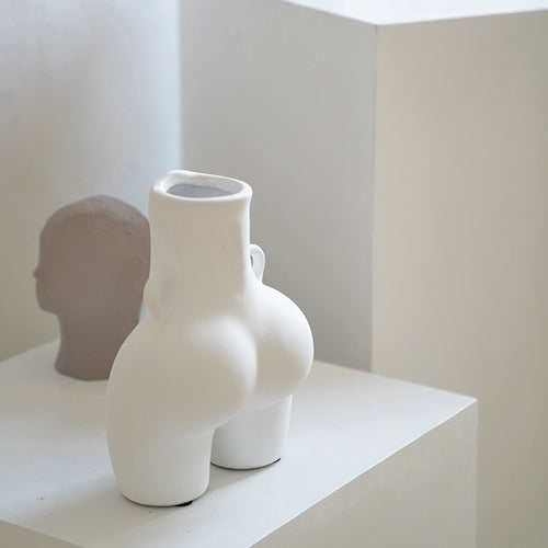 Body Shape White Resin Vase - Triftware