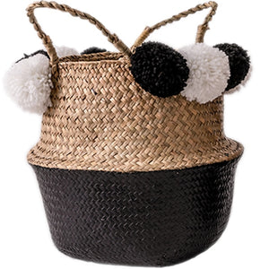 Handmade Wicker Basket with Pom Poms - Triftware