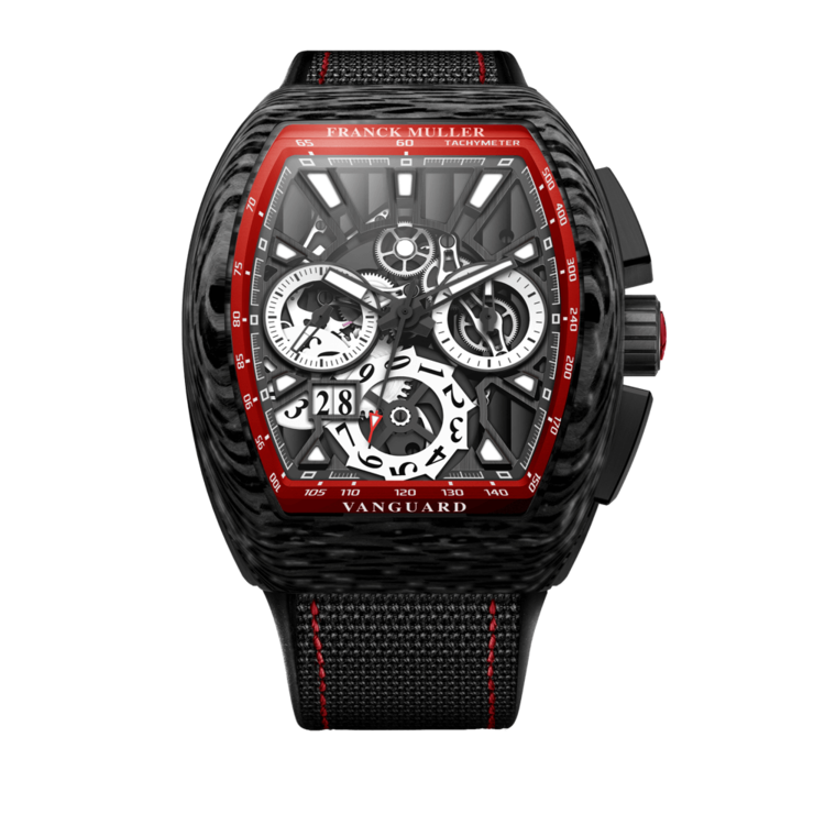 FRANCK MULLER VANGUARD GRAND DATE CARBON SKELETON RED V45 CC GD SQT