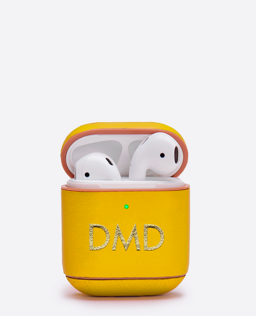 Funda de piel personalizable para AirPods amarillo - The Abat - Belfry
