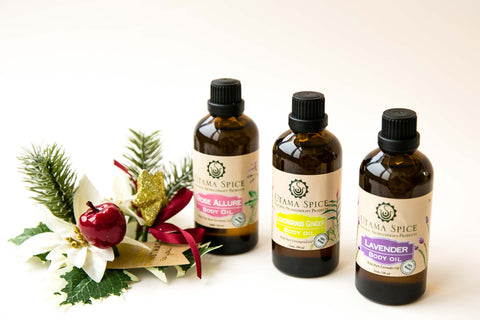 massage and body oil made with pure essential oils, soy bean oil and cold pressed coconut oil. 100% natural