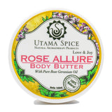 rose allure body butter made with cold pressed coconut oil and essential oils