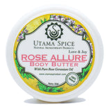 rose allure body butter made with cold pressed coconut oil and essential oils, in a travel friendly size