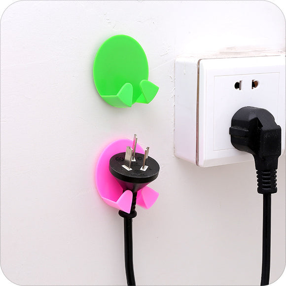 Wall Adhesive Plastic Power Plug Socket Holder - 2pcs