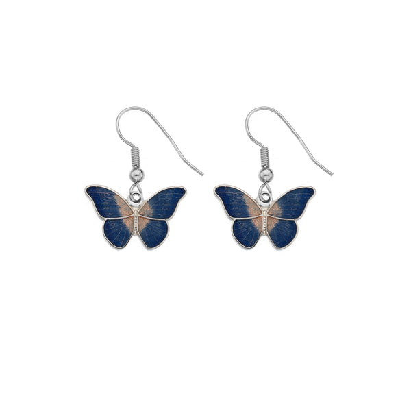 Sea Gems - Enamel Butterfly Earrings (blue)